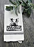 Pig Print Kitchen Farmhouse Style Tea Towel, Dish Towel, Dish Cloth