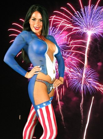 Uncle Sam 4th of July Body Painting Poster 12X18 (Tribute - 4th Nude July Of
