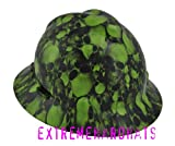 MSA V-gard Full Brim Green Skulls Hard Hat w/Ratchet Suspension