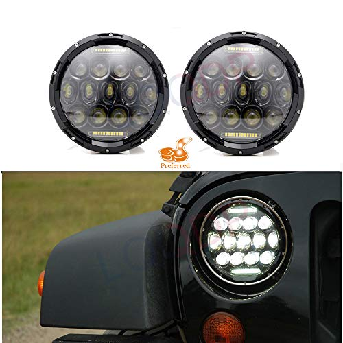 "LQQDP 2pcs DOT Approved 7"" Inch Round H6024/H6017/6015/6014/6012 Conversion Kit Full LED Headlights Assembly Super White High/Low Beam DRL Daytime Running Lights+Canbus+H4/H13 Adaptors"