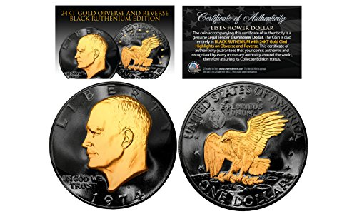 Silver Us Type Coin - Black RUTHENIUM Eisenhower IKE Dollar U.S. Coin with 24K Gold Gilded Highlights 2-SIDED