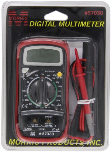 Morris Products Digital Multimeter with Rubber Holster - For Measuring Electrical Values - Battery Power, Overload Protection - Back Lit - Blister Packed, cETLus Listed - 1.25