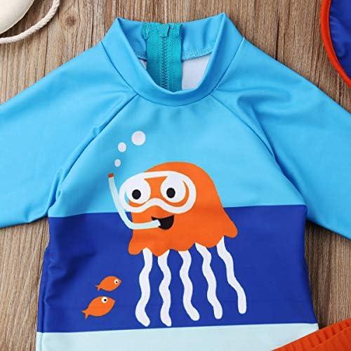 Pantaloncini da Nuoto+Cuffia da Bagno Carolilly Costume da Bagno 3 Pezzi Neonato Bambini Ragazzi Maglia da Immersione Anti-UV Manica Lunga