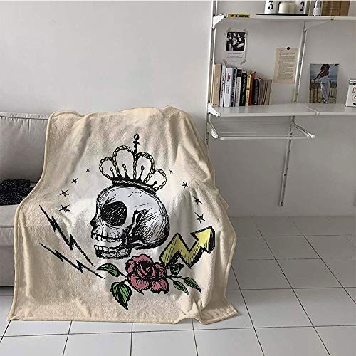 Khaki home Children's Blanket Party Print Digital Printing Blanket (70 by 90 Inch,Skull Decor,Mexican Folk Art Inspired Skeleton with Crown and Rose Halloween Artsy Design,Yellow -