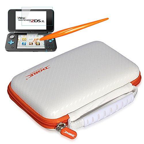 DOBE 3 in 1 New Nintendo 2DS XL/LL EVA Carry Case for New Nintendo 2DS XL/LL -with 2 Screen Protector Glass film- 1 Electromagnetic Touching (Orange Nintendo Ds Case)