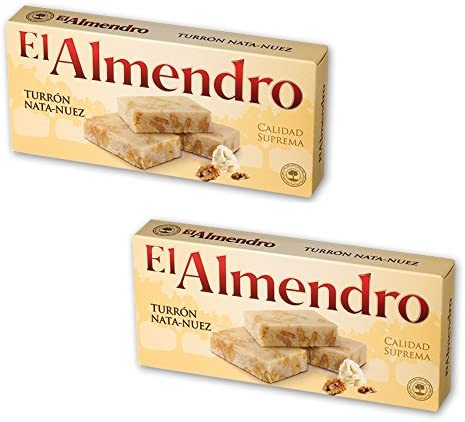 El Almendro - Pack incluye 2 Turrón Nata Nuez - 200 gr Calidad suprema Sin gluten: Amazon.es: Alimentación y bebidas