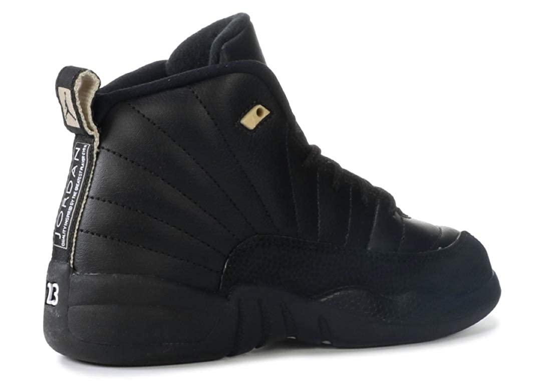 add2a29b40614 Nike Air Jordan Retro 12 The Master BP Preschool P.S Black White Black  Metallic Gold 151186-013