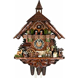 Hönes Cuckoo Clock Black Forest house with Forest scene and moving hunter and turning mill-wheel