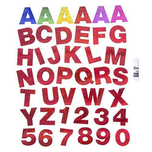 Darice 30066522 Holographic Letters & Numbers: 6 Colors, 217 Pieces Poster Letters Assorted