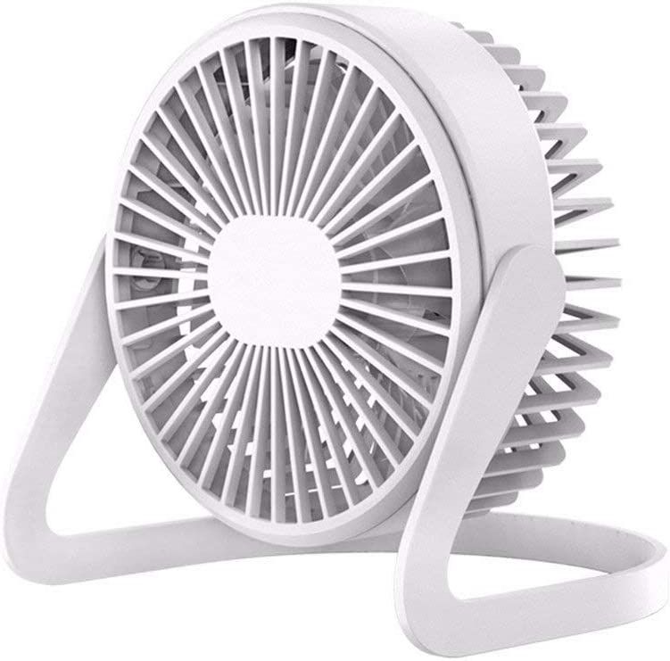 Small USB Desk Fan Long Battery Life Quiet Operation White Portable Battery Powered Fan Strong Wind Yyqtfs Fan with 3 speeds