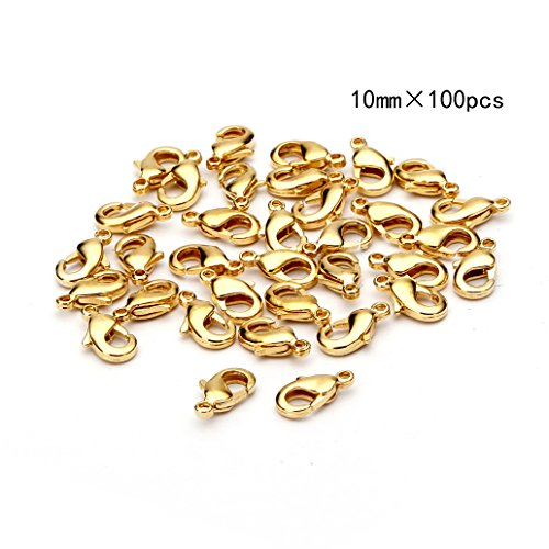 10mm Gold Lobster Clasps - BRCbeads Lobster Clasp Gold Plated Jewelry Lobster Claw Clasp Findings 10mm 100pcs for Jewelery Making