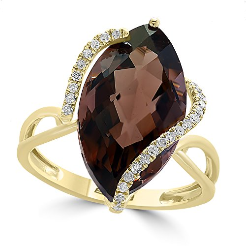 (Effy 14K Yellow Gold Smokey Quartz and Diamond Ring, 6.55 TCW)