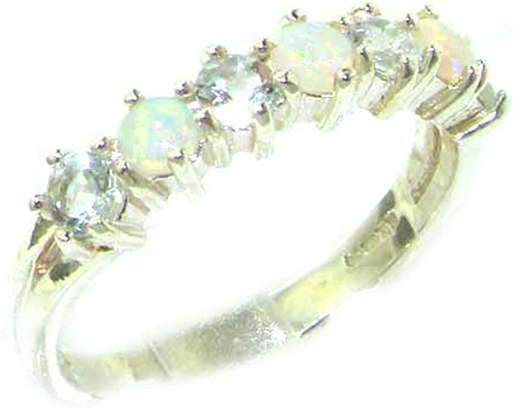 925 Sterling Silver Real Genuine Opal & Aquamarine Womans Eternity Ring