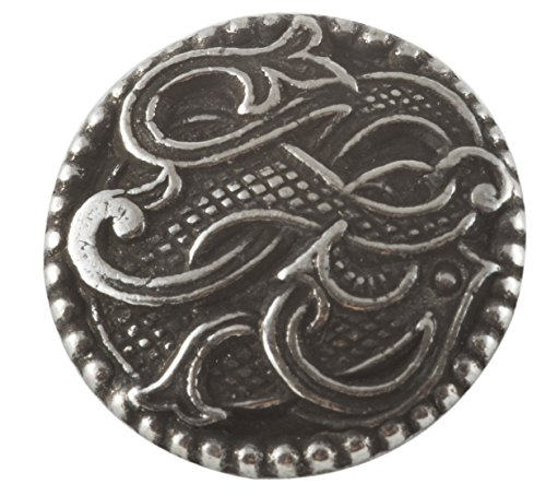 Solid Pewter Button - Viking Drage Entwined Dragon Button - Solid Pewter 13/16