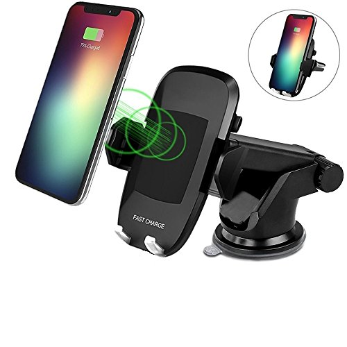 Wireless Car Charger for iPhone X, iPhone 8 Plus/iPhone 8, and Other Qi-Enabled Devices, Provides Fast-Charging for Samsung Galaxy Note 8/S8/ S8+/ S7 / S7 Edge / S6 Edge+, and Note 5-Black by BAMAN