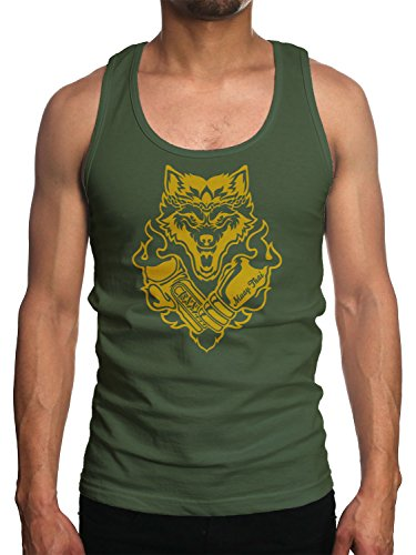 Young Motto Men's Wolf Muay Thai Boxer Tank Top (Muay Boxer Thai)