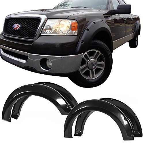 Fender Flares Fits 2004-2008 Ford F150 F-150 | 4pc Pocket Rivet Smooth Black Front Rear Right Left Wheel Cover Protector Vent by IKON MOTORSPORTS | 2005 2006 2007