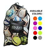 Extra Large Heavy Duty Soccer Ball Mesh Bag for Sports, Beach and Swimming Gears. Adjustable Shoulder Strap Made to Fit Adults & Kids. Secure Side Zipper Pocket for Personal Items. 40x30 IN, Black