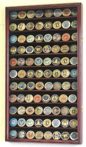 Large Military Challenge Coin Display Case Cabinet Holders Rack w/ UV Protection, Cherry