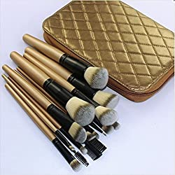 DE'LANCI Pro 11 Pcs Bamboo Handle Synthetic Makeup Brushes Face Powder Concealer Contour Brush Set Foundation Blending Contourking Brush Kit Make Up Brush Tools with Golden Bag Pouch