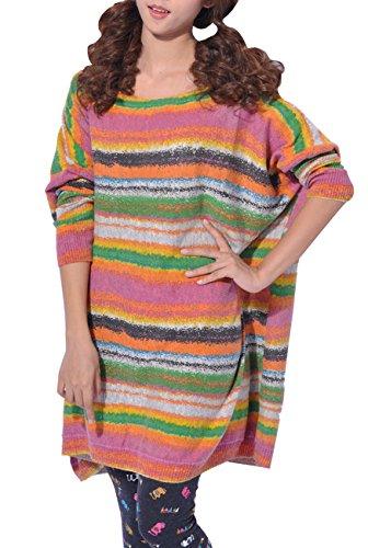 ELLAZHU Femme Pull Robe Tricot Lâche Imprimé Rayure Colorée Taille Unique SZ46