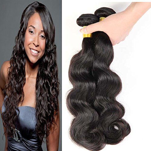 Malaysian Hair 3 Bundles with Closure Hair Piece Weave - Body Wave Hair Black Extensions, Mixed Length (22 22 22+20)