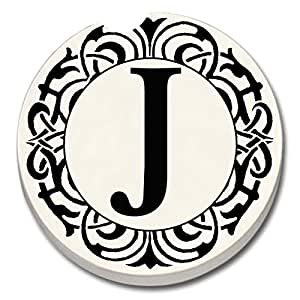 """CounterArt 'Initially Yours' Absorbent Stoneware Car Coaster, Monogrammed """"J"""""""