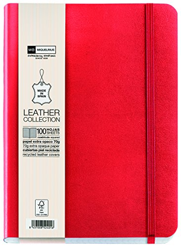 Miquelrius Flexible Handmade Leather Journal, 200 Graph Sheets/400 Pages, (6 x 8) (Red) by Miquelrius (Image #1)