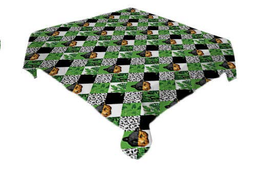 Cheetah Christmas Tablecloth Checkered Geometric Pattern Jungle Leaves Animal Print and Face Green Black White Orange Printed Tablecloth Square Tablecloth 60 by 60 inch]()