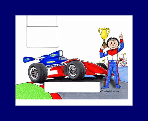 (Personalized Friendly Folks Cartoon Print w/Mat - Ready to Frame Race Car Driver, Indy - Female)