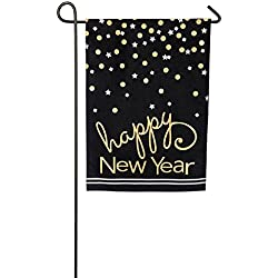 Evergreen Happy New Year Confetti Burlap Garden Flag, 12.5 x 18 inches