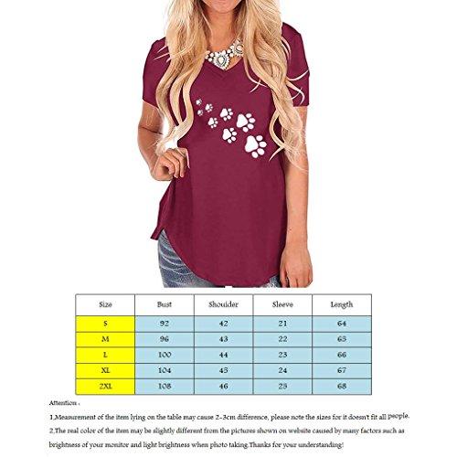 Tees Ragazze Donne Claw T Corta della Stampa Scollo V Shirt Mengonee Vino di Estate delle delle a Cat Manica con pRnwcq4U