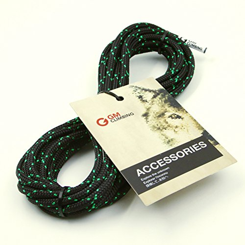 GM CLIMBING 6mm (1/4in) Accessory Cord Rope 12kN Double Braid Black with Green Flecks Pre Cut CE