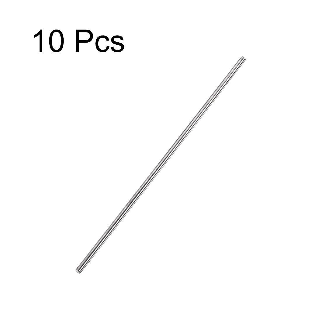 sourcing map 3mm x 200mm 304 Stainless Steel Solid Round Rod for DIY Craft 10pcs