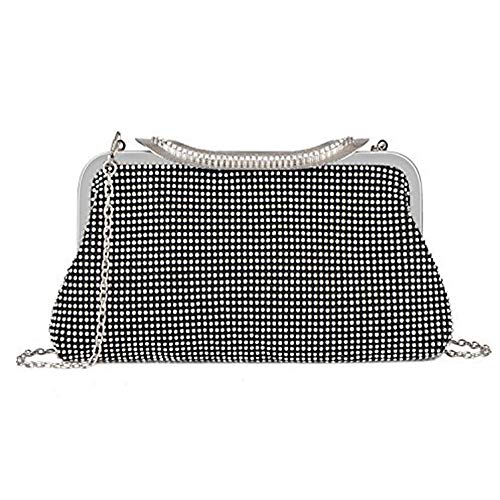 Bags Womens Handbag Purse Black Rhinestone Evening Wedding Dazzling Crystal 0qxFw4f0