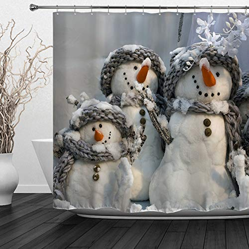 HIYOO Christmas Snowman Shower Curtain Sets, Xmas New Year Winter Bathroom Decorations, Waterproof Polyester Fabric, Vibrant Colors, Soft to Touch, with Hooks 60