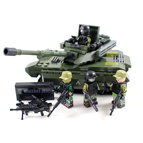 Army Light Tactical Tank with Soldiers and Guns - Military Building Block Toy