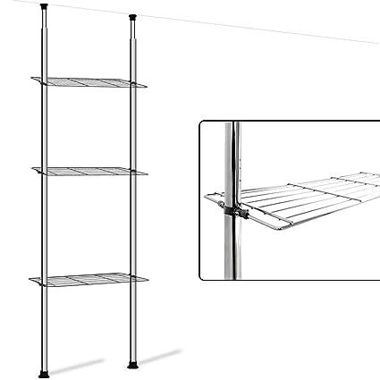 Deuba Étagère télescopique douche sans perçage Rangement douche etagere  salle de bain 4 étagères Hauteur 175 à 275 cm