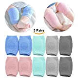 Baby Knee Pads for Crawling with Anti-Slip Grip - 5 Pairs - Boys & Girls Color Options - by MJsmile (Baby Boy)
