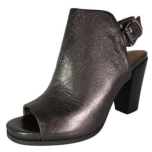 Gentle Souls by Kenneth Cole Women's Shiloh Slingback Peep Toe Ankle Bootie Boot, Pewter, 10 M (Leather Peep Toe Slingback Wedge)