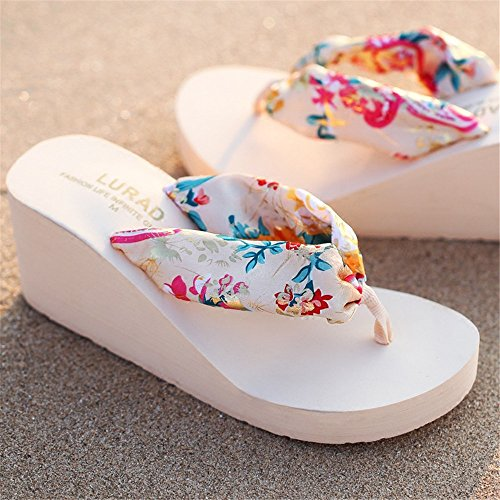 Angel 3 Flip Wedge Color Brown Floral beauty Flops Tongs Femmes Pantoufles love Sandales EU 38 Size Plage Tongs Plate Beige Femmes Wedge Bohême Forme Couleurs xrqr4fn