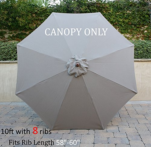 Replacement Umbrella Canopy for 10ft 8 rib Market Outdoor Patio Shades in Taupe Ribs length 58