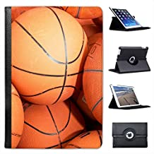 Lots of Used Basketballs Ready for Practice For Apple iPad Mini, iPad Mini 2, iPad Mini Retina, iPad Mini 3 Faux Leather Folio Presenter Case Cover Bag with Stand Capability