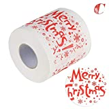 iShine Christmas Toilet Paper Christmas Pattern Series Roll Paper Prints Funny Toilet Paper for Prank Fun Birthday Party Novelty Gift Idea Living Room Decor