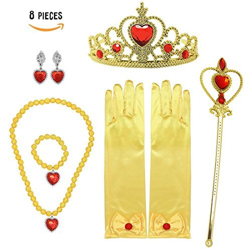 Princess Belle Gift Set 8Pieces Yellow Dress Up Christmas Party for Girls -