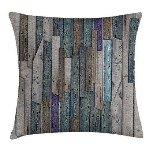 Ambesonne Wooden Throw Pillow Cushion Cover, Blue Grey Grunge Rustic Planks Barn House Wood and Nails Lodge Hardwood Graphic Print, Decorative Square Accent Pillow Case, 20 X 20 inches, Gray Blue