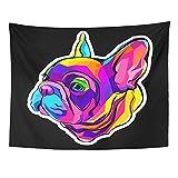 Emvency Tapestry Mandala 60x80 Inch Home Decor Gray Animal French Bulldog for Cute Puppy Pedigree Dog Big Ears Black Brawny Breed for Bedroom Living Room Dorm