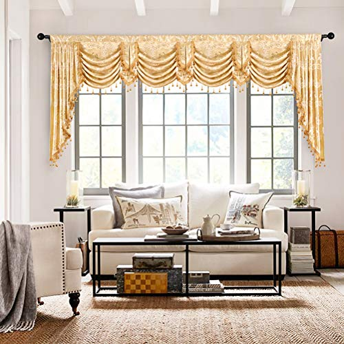 elkca Custom Made Valance for Living Room Golden Jacquard Swag Waterfall Valance (Waterfall Valance,Damask-Golden, ()