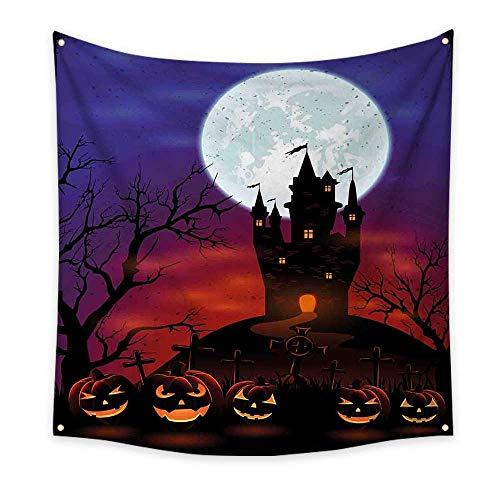 Halloween Funny Tapestry Gothic Haunted House Castle Hill Valley Night Sky October Festival Theme Print Quote Tapestry Multicolor 47W x 47L Inch ()