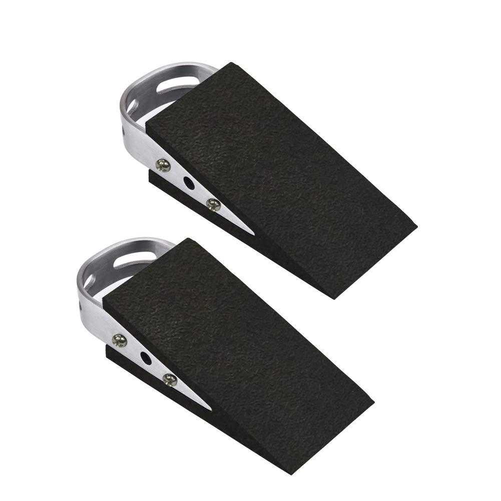 Door Stopper 2 Pack, Rubber Door Stop Wedge, Door Stop Works on Multi Surfaces with Heavy Duty Design, Flexible and Non Scratching Door Holder for Home Office School
